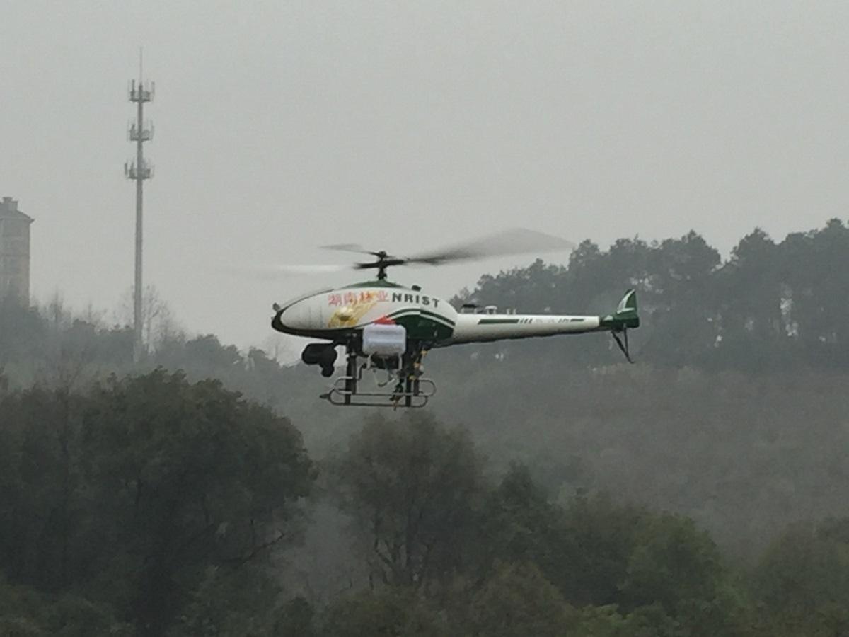 湖南省天敌繁育中心无人机展示喷洒虫药